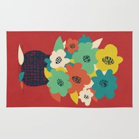 matisse Area & Throw Rugs featuring Paper Flowers by Picomodi
