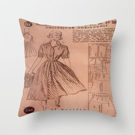Vintage sewing pattern, 1950s  Throw Pillow