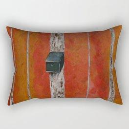 Bird House On Birch Tree Rectangular Pillow