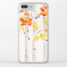 Autumn Birch Song Clear iPhone Case