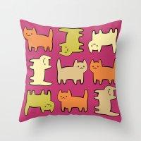 cartoon Throw Pillows featuring Cartoon Kitties by Irina  Romanovsky