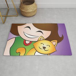 Girl love Kitten Pussy Cute Cat Hug Rug