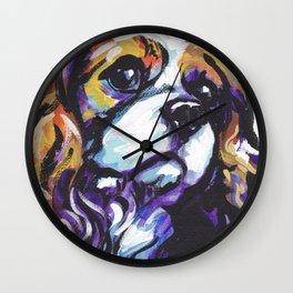 Blenheim Cavalier King Charles Spaniel Dog Portrait Pop Art painting by Lea Wall Clock