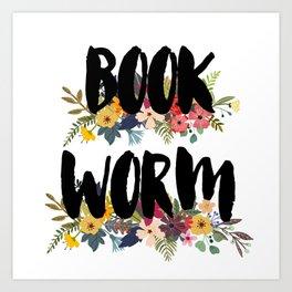 Floral Bookworm Art Print