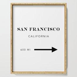 San Francisco California City Miles Arrow Serving Tray