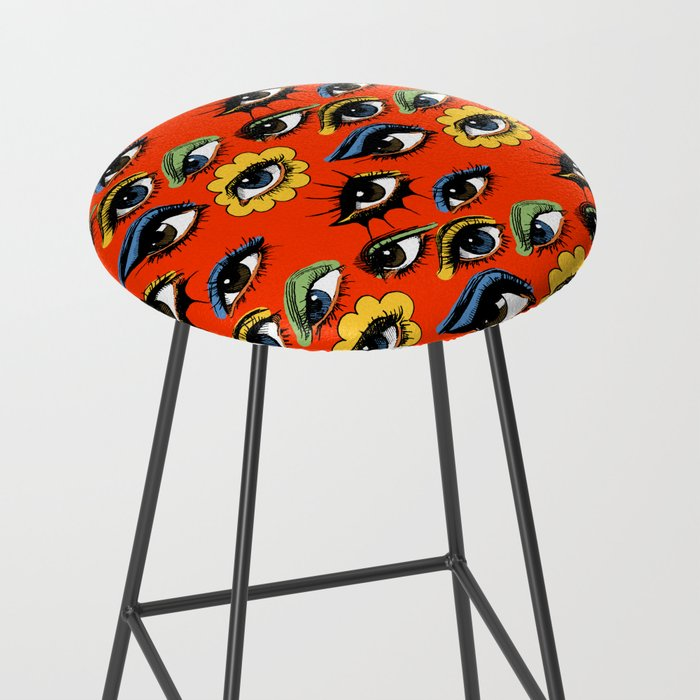 60s Eye Pattern Bar Stool