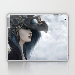 Bluish Black - Mysterious fantasy mage girl portrait Laptop & iPad Skin