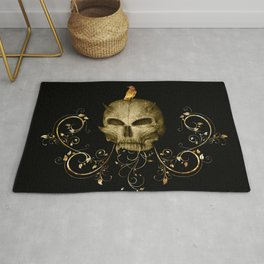 Golden skull with crow Rug