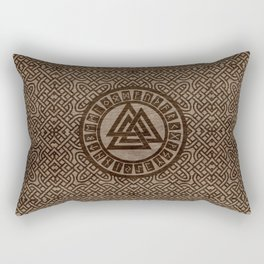 Valknut Symbol and Runes on Celtic Pattern on Wood Rectangular Pillow