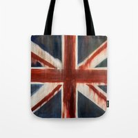 union jack Tote Bags featuring Union Jack by breezy baldwin