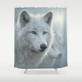 White Wolves - Whiteout Shower Curtain