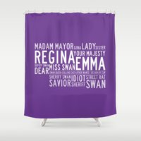 ouat Shower Curtains featuring Swan Queen Nicknames - Purple (OUAT) by CLM Design