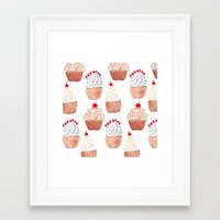 cupcakes Framed Art Prints featuring Cupcakes by Bouffants and Broken Hearts