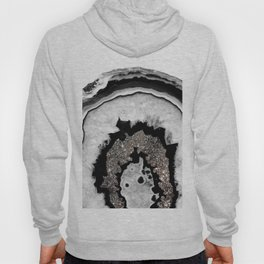Gray Black White Agate with Silver Glitter #1 #gem #decor #art #society6 Hoody