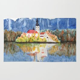 Church of the Assumption in Lake Bled Slovenia Rug
