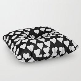 Hearts White on Black Floor Pillow