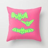 bats Throw Pillows featuring Bats by idrewthestars