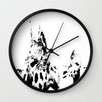 giraffes Wall Clocks featuring Giraffes  by Digital-Art