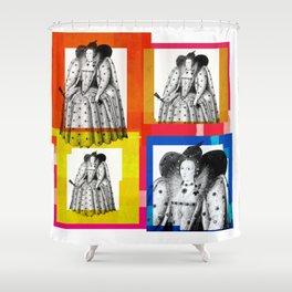 QUEEN ELIZABETH THE FIRST, 4-UP POP ART COLLAGE Shower Curtain
