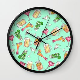 Fun Summer Watercolor Painted Mixed Drinks Pattern Wall Clock