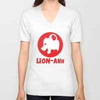 thundercats V-neck T-shirts featuring Lion-ahh by Mike Nieuwstraten