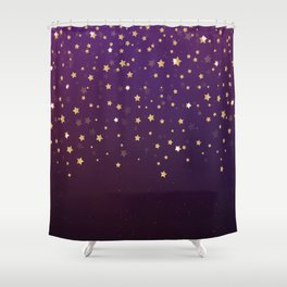 Violet Night Gold Stars Shower Curtain