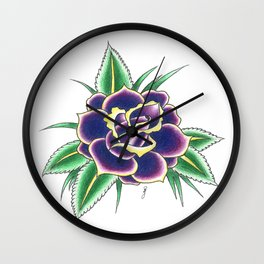 Neo-Traditional Rose Wall Clock