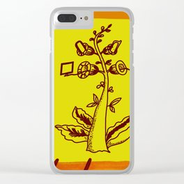 tree with a computer , telephone and other device . https://society6.com/vickonskey/s?q=popular+prin Clear iPhone Case