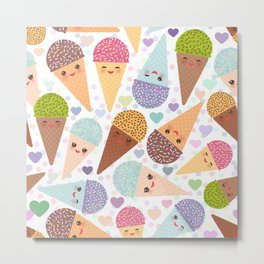 Kawaii funny Ice cream waffle cone, with pink cheeks and winking eyes Metal Print