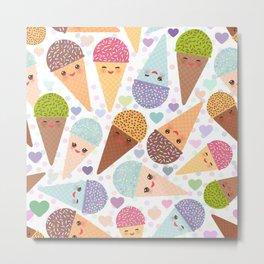 Kawaii funny Ice cream waffle cone, with pink cheeks and winking eyes Metal Print