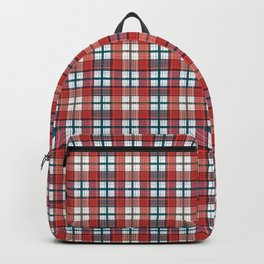 Colorful red grey plaid . Backpack