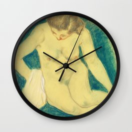 Seated Nude Seen from Above by Paul Gauguin. Wall Clock