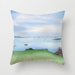 View from Fort McClary in Maine Watercolor Painting Throw Pillow