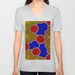 Authentic Aboriginal Art - Circles Unisex V-Neck