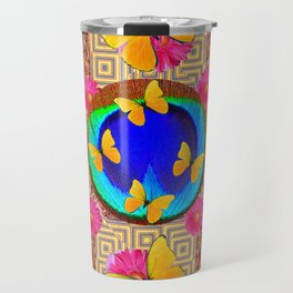 Fuchsia  Pink Yellow Butterflies Blue Patterns Travel Mug