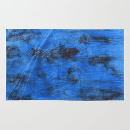Bright navy blue abstract watercolor Rug