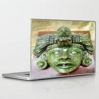 malachite Laptop & iPad Skins featuring Malachite Aztec mask by lennyfdzz