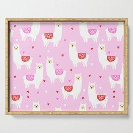 Valentines Llama - pink llama, alpaca, heart, hearts, love, cute, valentines day Serving Tray