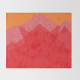 Colorful Red Abstract Mountain Throw Blanket