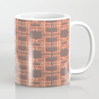 mid century modern Mugs featuring Vintage Abstract Mid Century Modern Pattern by Reflektion Design