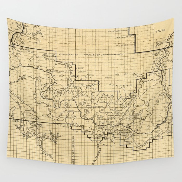 Vintage Map Of The Grand Canyon 1908 Wall Tapestry By Bravuramedia