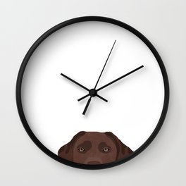 Peeking chocolate labrador dog breed cute dog face labrador retrievers Wall Clock