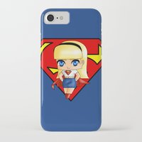 supergirl iPhone & iPod Cases featuring Chibi Supergirl by artwaste