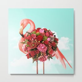 Flamingo Flowers in Sky Metal Print