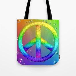 Rainbow Peace Sign Tote Bag