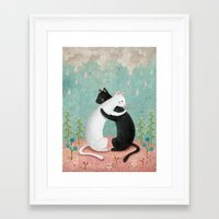hug Framed Art Prints featuring hug by bonnyart