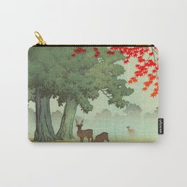Vintage Japanese Woodblock Print Nara Park Deers Green Trees Red Japanese Maple Tree Carry-All Pouch