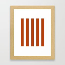 Rust brown - solid color - white vertical lines pattern Framed Art Print