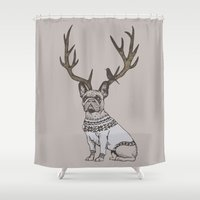 frenchie Shower Curtains featuring Deer Frenchie  by Huebucket