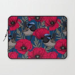 Fairy wren and poppies Laptop Sleeve